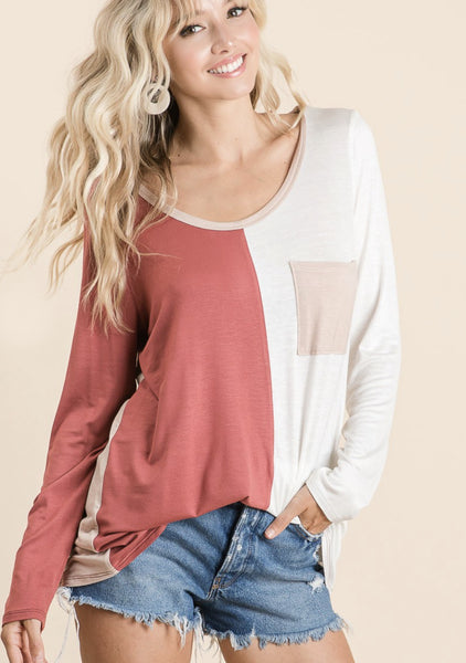 Something About You Colorblock Top, Marsala