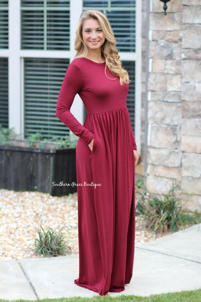 Perfect Day Maxi Dress - Burgundy