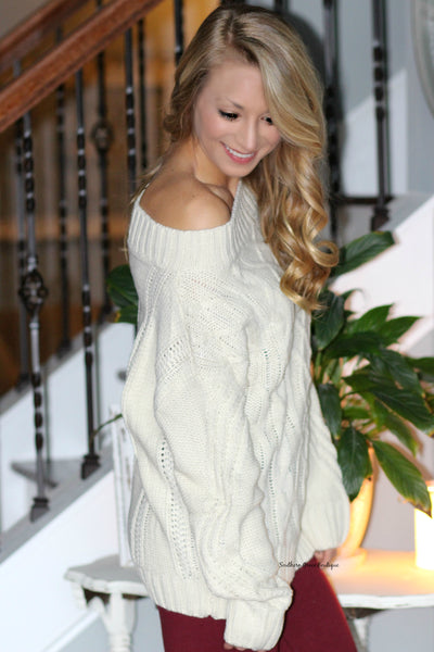 Living For Winter Off The Shoulder Sweater