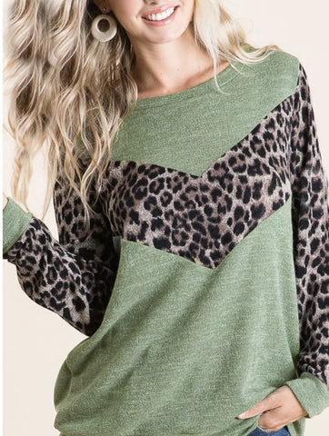 Leopard State of Mind Knit top, Olive PREORDER