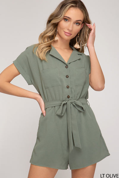 Born Beauty Romper, Olive CLEARANCE