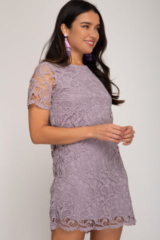 Lavish In Lace Dress, Lilac Grey FINAL SALE ITEM!