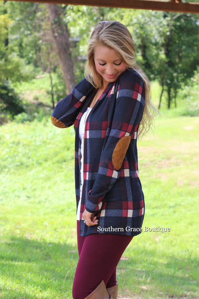 Perfect Patches & Plaid Cardigan - Navy