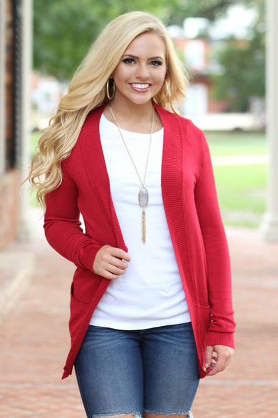 Basic Girl Cardigan - Red