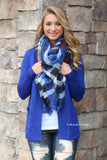 Warm Me Up Plaid Blanket Scarf - Royal
