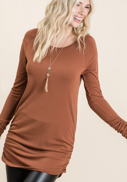 Favorite Side-Cinched Tunic, Rust PREORDER