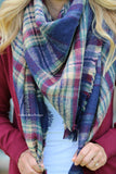 Warm Me Up Plaid Blanket Scarf - Burgundy