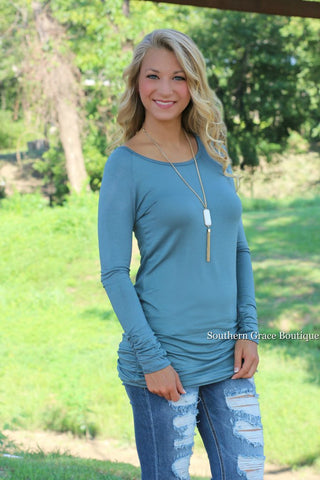 Favorite Side-Cinched Tunic, Teal