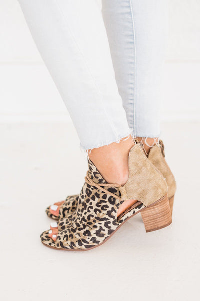 Very G Peep Toe Leopard Booties