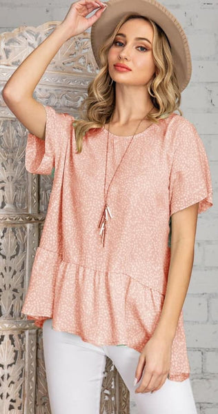 Pretty Peplum Top, Salmon