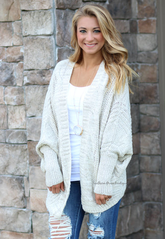 Wrapped in Comfort Cardigan - Taupe