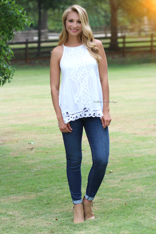 Easy Breezy Lace Tank, Off White