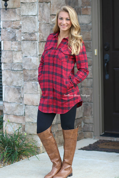 She's Gone Country Flannel Tunic - Red