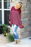 A Day In Stripes Sweater - Burgundy
