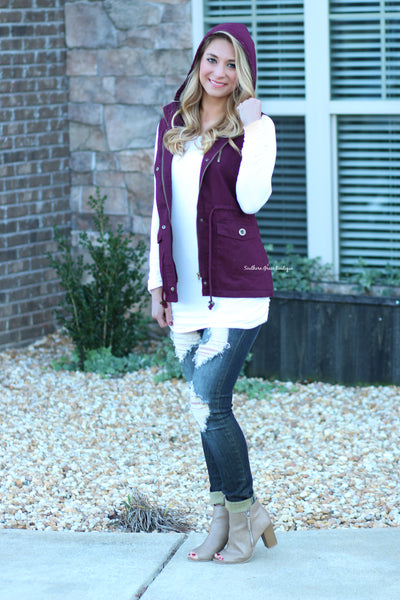 Ready For The Chill Vest (Lined) - Burgundy