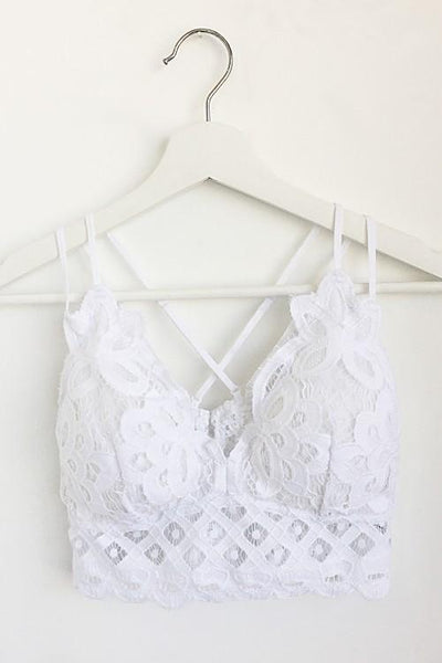 Plus Beautifully Laced Bralette, White (Final Sale Item)