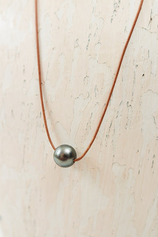 Kim Leather Pearl Necklace