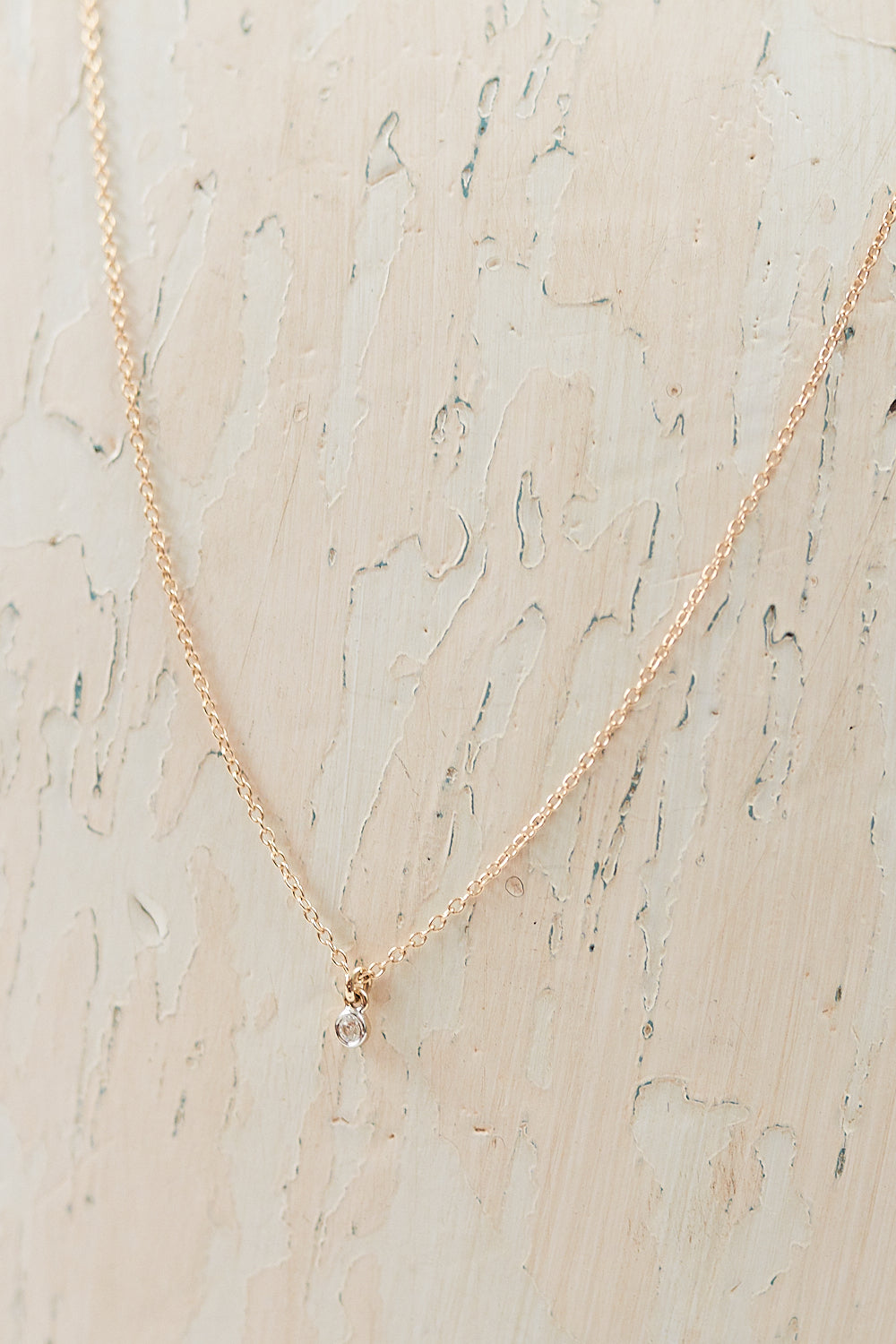 Tiny Solitaire Diamond Pendant Necklace