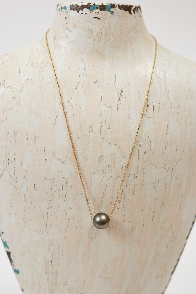 "14""/ 16""/ 18""  Single Floating Pearl Necklace"