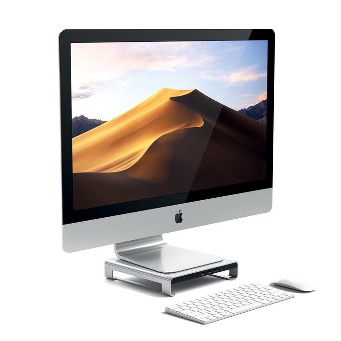 Satechi USB-C Aluminum Monitor Stand Hub for iMac - Silver