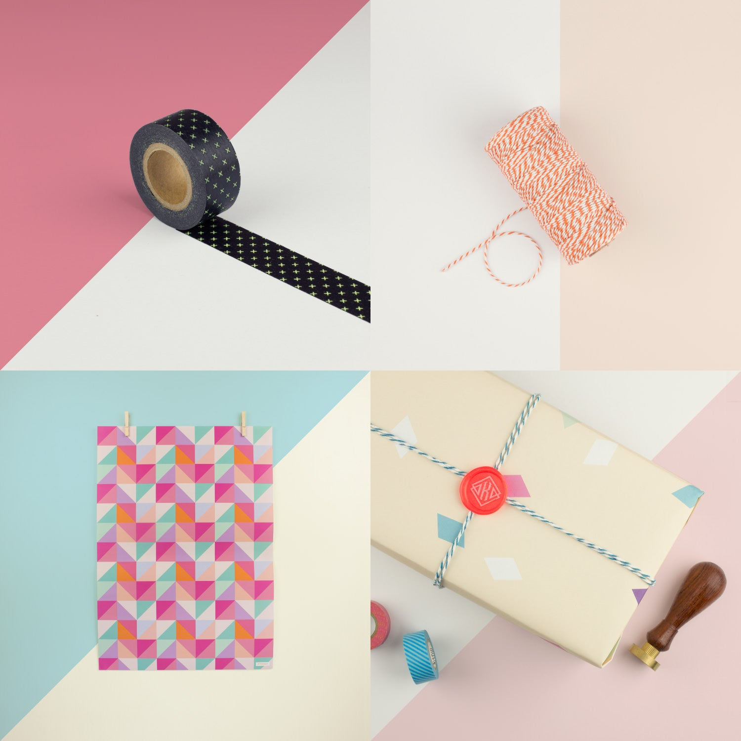 Washi tape, cotton bakers twine and designer wrapping paper sheets. Shop online now.
