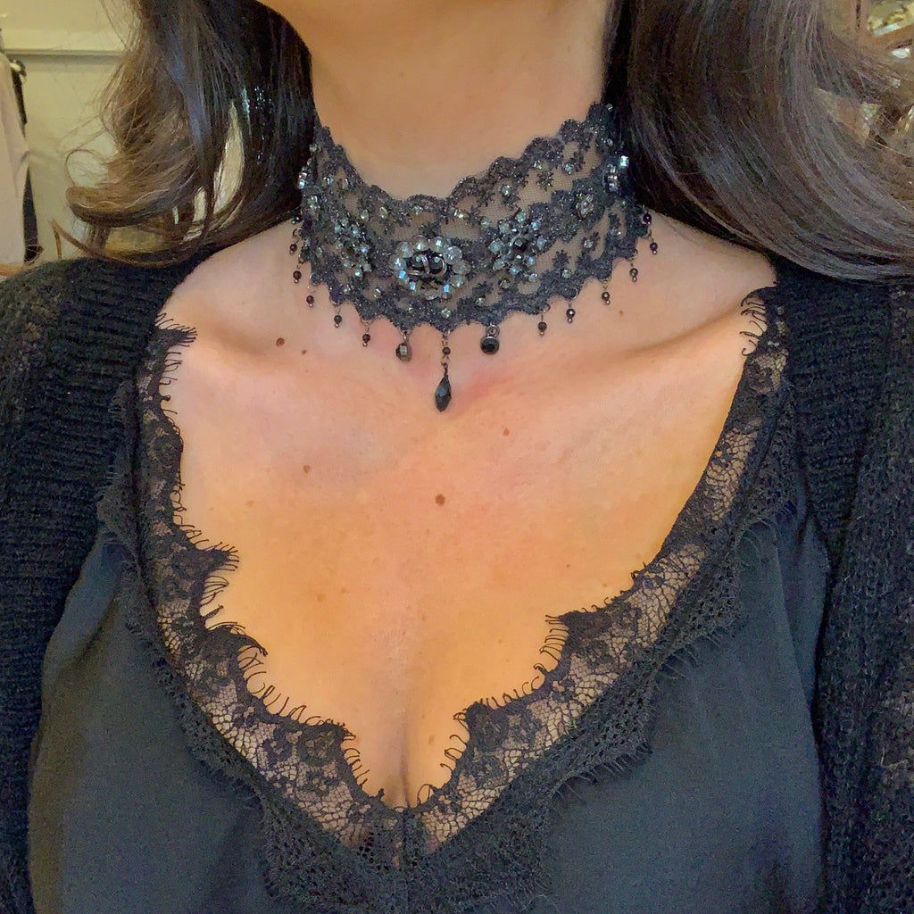 Black Crystal Lace Choker