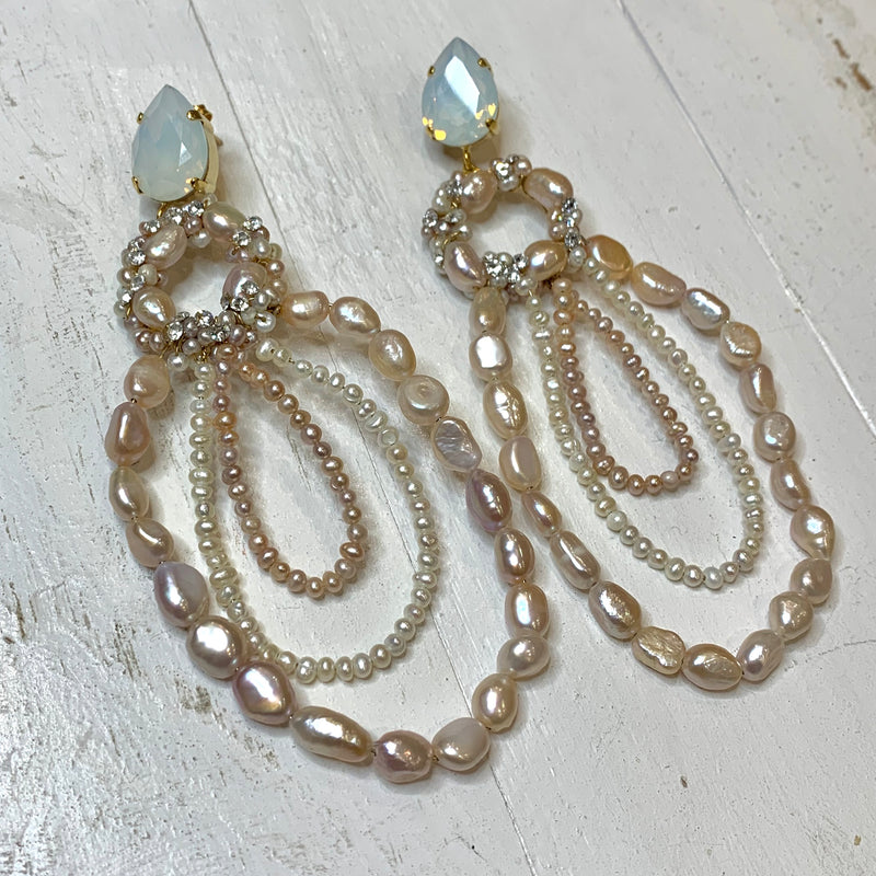Oval Crystal & Pearl Earrings