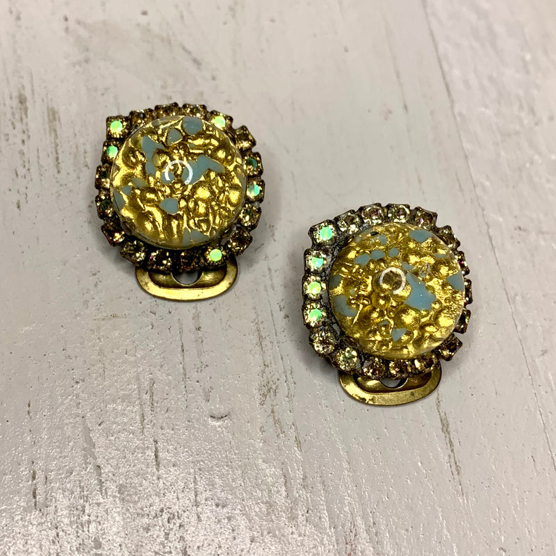 Gold & Turquoise Clip Earrings