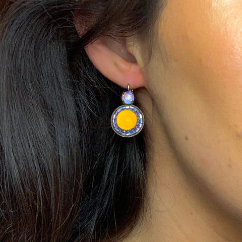 Amber and Lilac Earrings