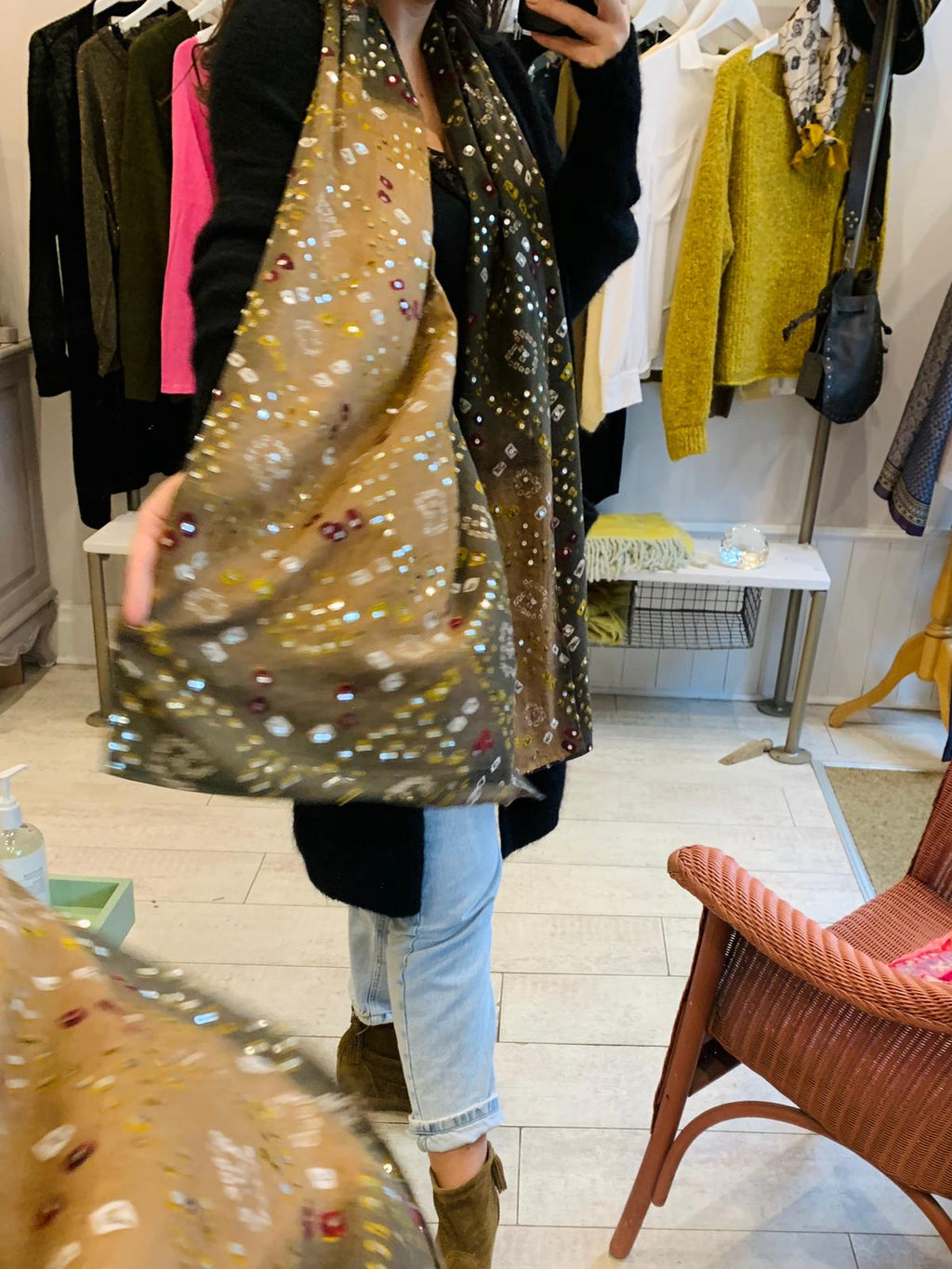 Khaki sequined scarf