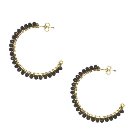Black Onyx hoop earring