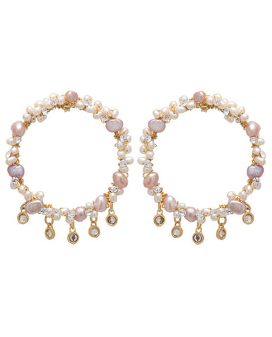 Summer pearl and crystal earring