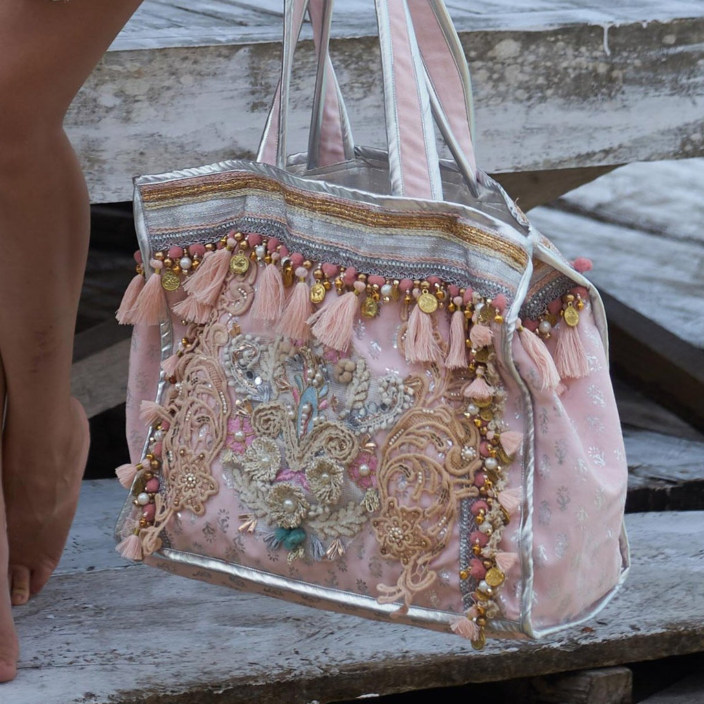 Large Pink Embroidered Bag