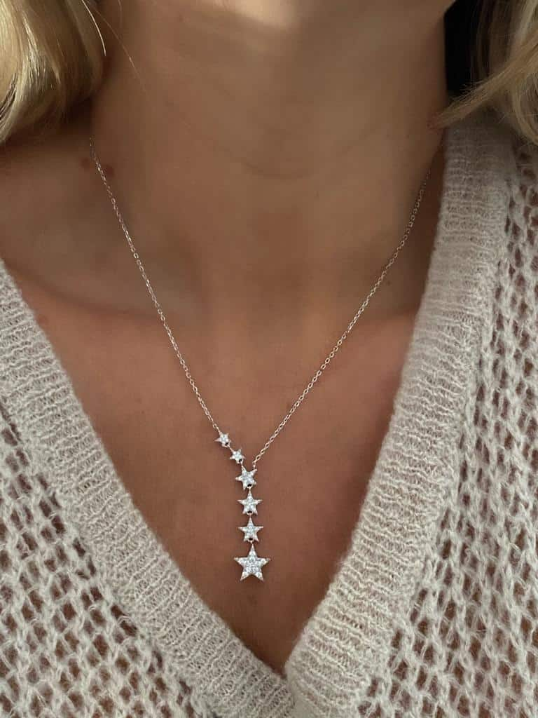 Silver little stars necklace