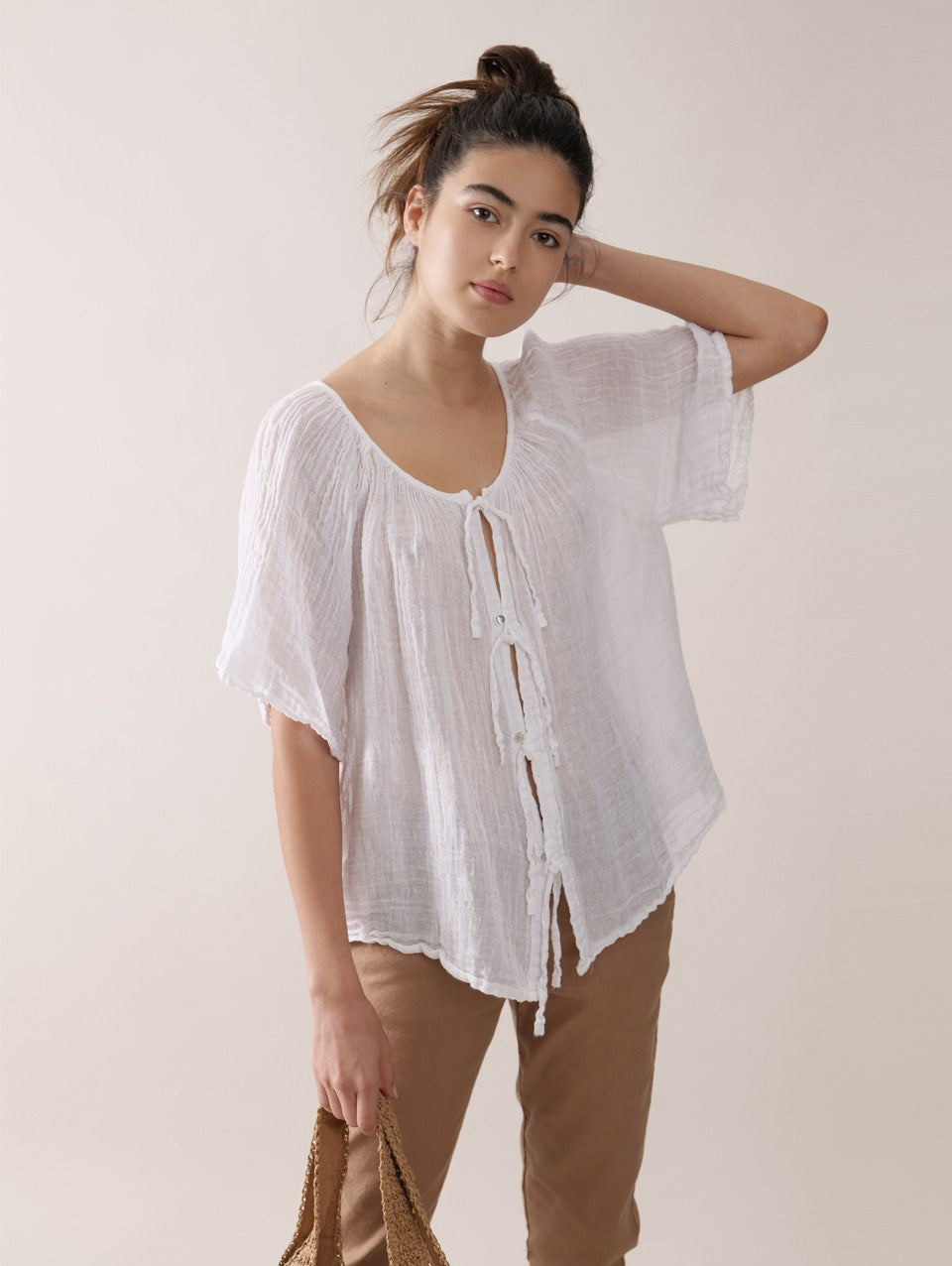 Barbara Rustic Blouse in White