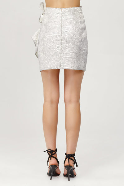Acler Ladies Metallic Silver Bronte Mini Skirt with Draped Wrap Back Detail