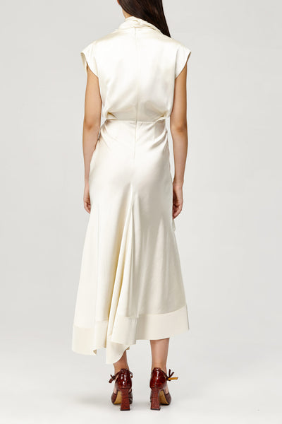 Acler Ladies Cream Dalisay Dress with Cowl Neck and Asymmetric Hem Back Detail