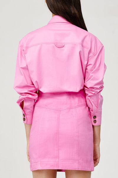 Acler Ladies Pink Denim Collared Shirt with Contrast Stitching Back Detail