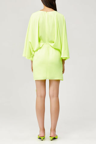 Acler Ladies Laurel Long Sleeved Mini Dress in Citrine Lime Green Back Detail