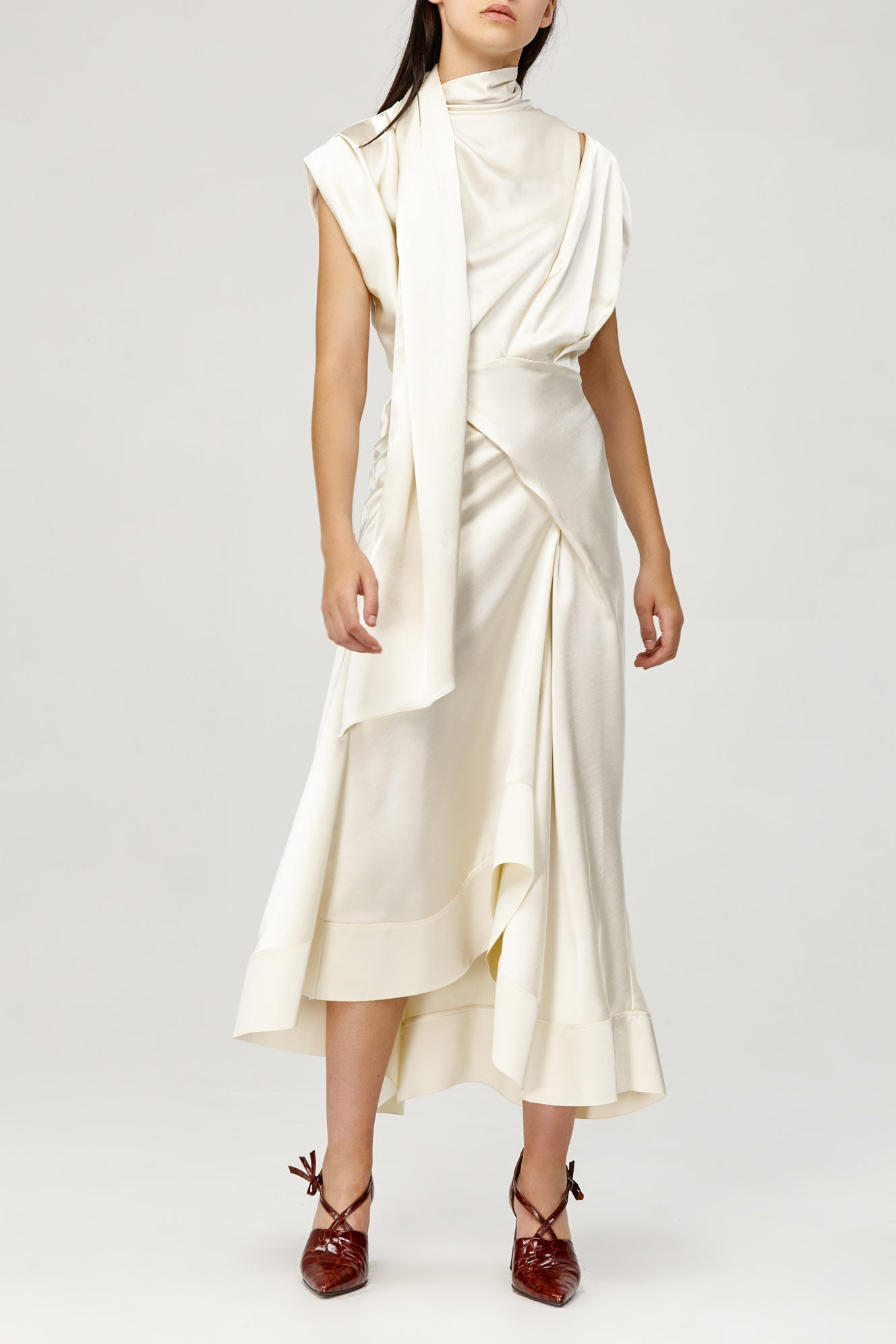 Acler Ladies Cream Dalisay Dress with Cowl Neck and Asymmetric Hem