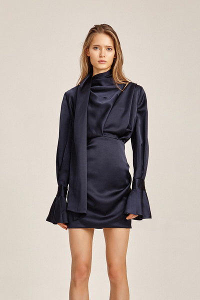 Acler Ladies Midnight Blue Soto Long Sleeved, Cowl Neck Mini Dress
