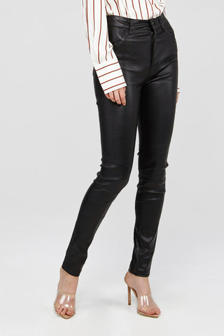 Black Acler Ladies High Waisted Leather Pants