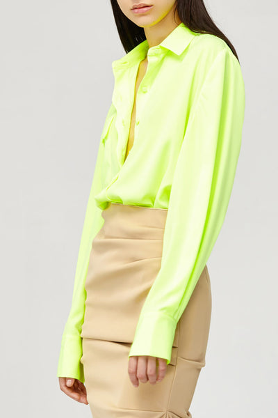 Acler Ladies Citrine Fluro Green Long Sleeved Collared Shirt Blouse