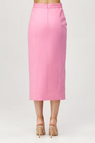 Acler Ladies Pink High Waisted Aslo Skirt with Scalloped Edge Back Detail