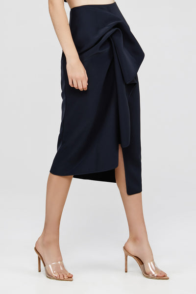 Black Acler Crawford Skirt with Draped Wrap
