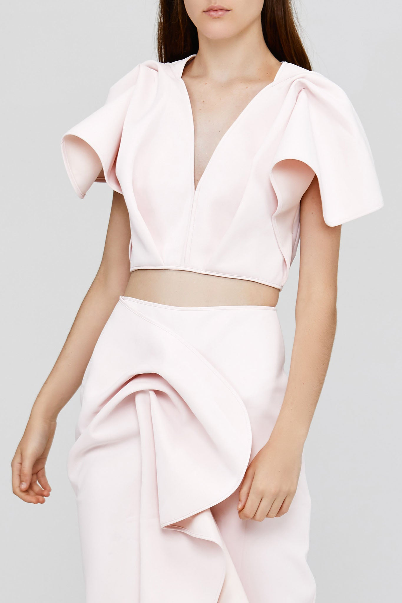 Pastel Pink Acler Crawford Top with Sleeve Ruffles