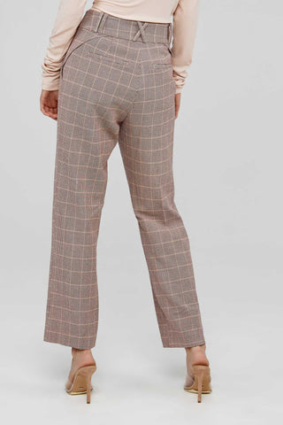 Acler High Waisted Ladies Wool Blend Pant in Clay Check Back Detail