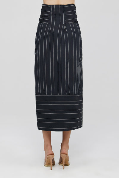 Ink Acler Ladies Midi Panel Striped Skirt with Front Drape Back Detail