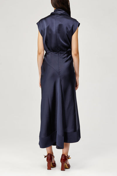 Acler Ladies Midnight Blue Dalisay Dress with Cowl Neck and Asymmetric Hem Back Detail