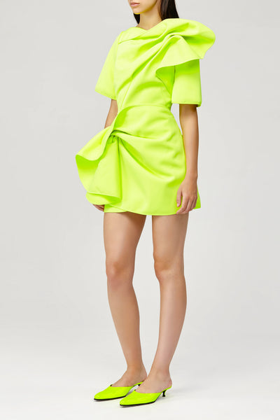 Acler Ladies Citrine Fluro Green Draped Mini Dress with Short Sleeves